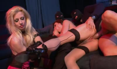 Men in masks fuck very hard her slave and mistress