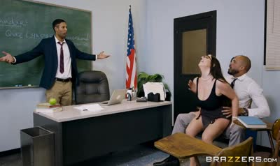 Daddy hard Fucks the teacher in front of son