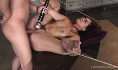 Man hard fuck pretty brunette BDSM